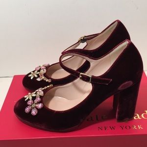 Kate Spade Bordeaux Velvet High Heels Pumps 6 M